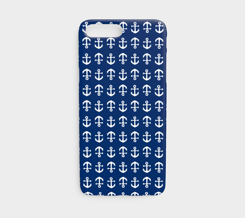 Anchor Toss Cell Phone Case iPhone 7 / 8 - White on Navy - SummerTies