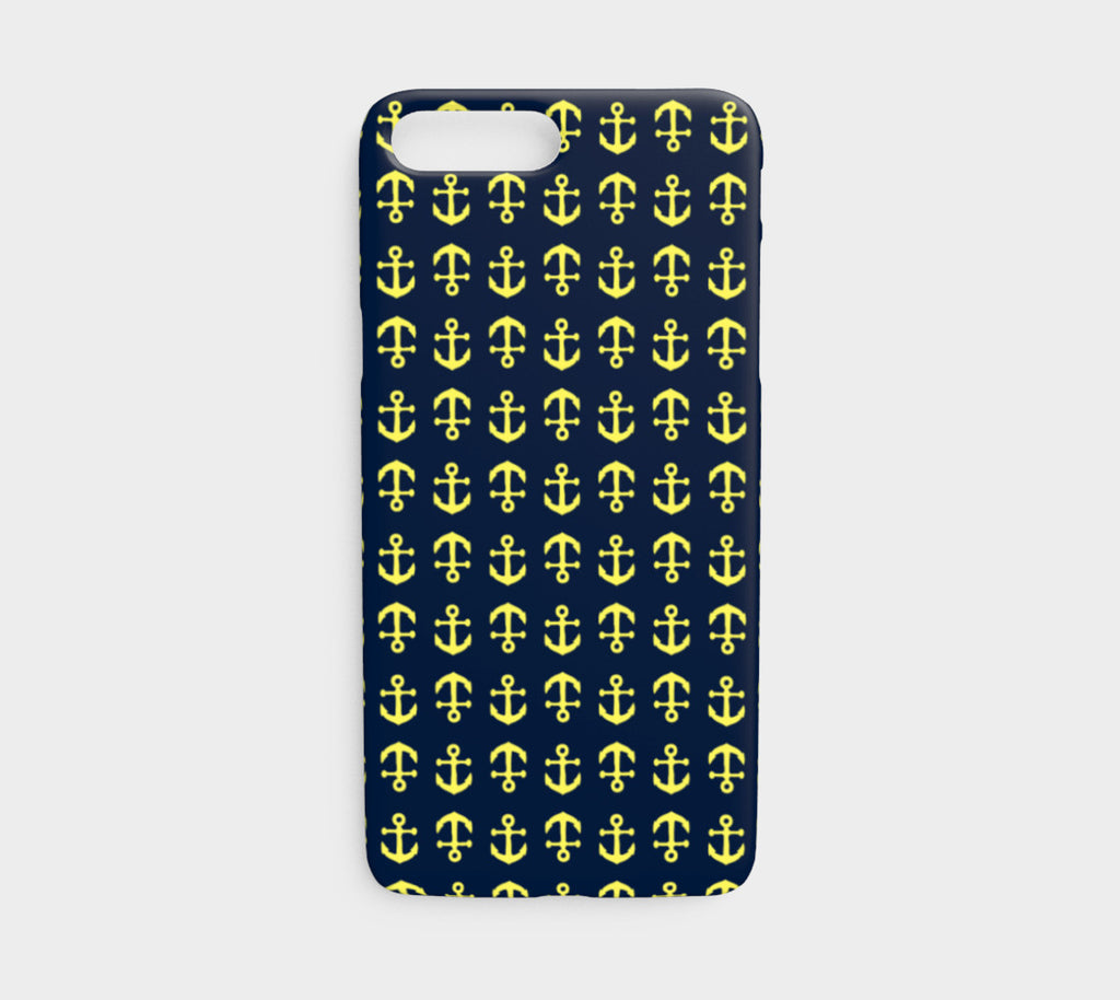 Anchor Toss Cell Phone Case iPhone 7 / 8 - Yellow on Navy - SummerTies