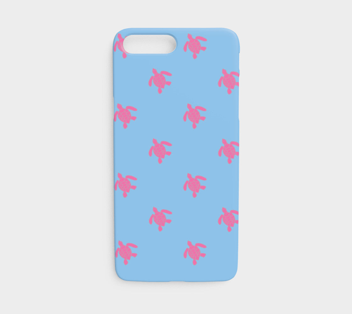 pretty nice 3f6ce 159bf Turtle Cell Phone Case iPhone 7 / 8 - Pink on Blue - iPhone 7 / 8 / Turtle  - Pink on Blue / Slim Case