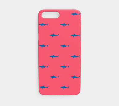 Shark Cell Phone Case iPhone 7 / 8 - Blue on Coral