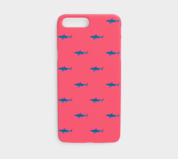 Shark Cell Phone Case iPhone 7 / 8 - Blue on Coral - SummerTies