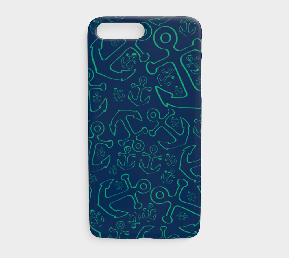 Anchor Dream Cell Phone Case iPhone 7Plus / 8Plus - Green on Navy - SummerTies
