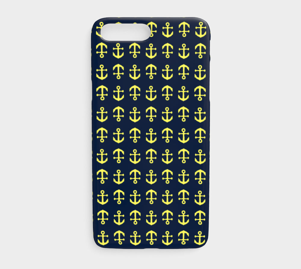 Anchor Toss Cell Phone Case iPhone 7Plus / 8Plus - Yellow on Navy - SummerTies