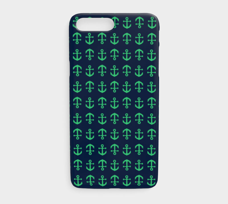 Anchor Toss Cell Phone Case iPhone 7Plus / 8Plus - Green on Navy - SummerTies