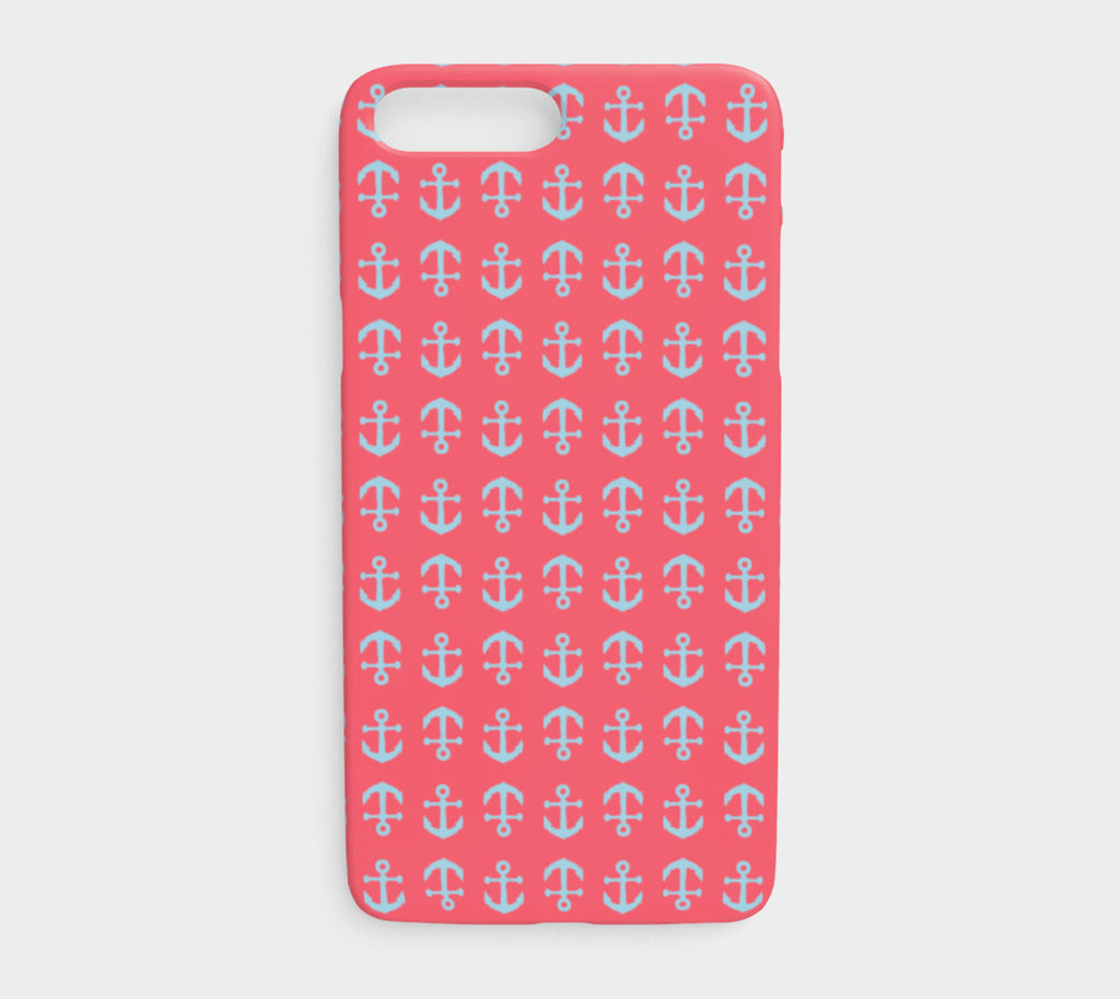 Anchor Toss Cell Phone Case iPhone 7Plus / 8Plus - Light Blue on Coral - SummerTies