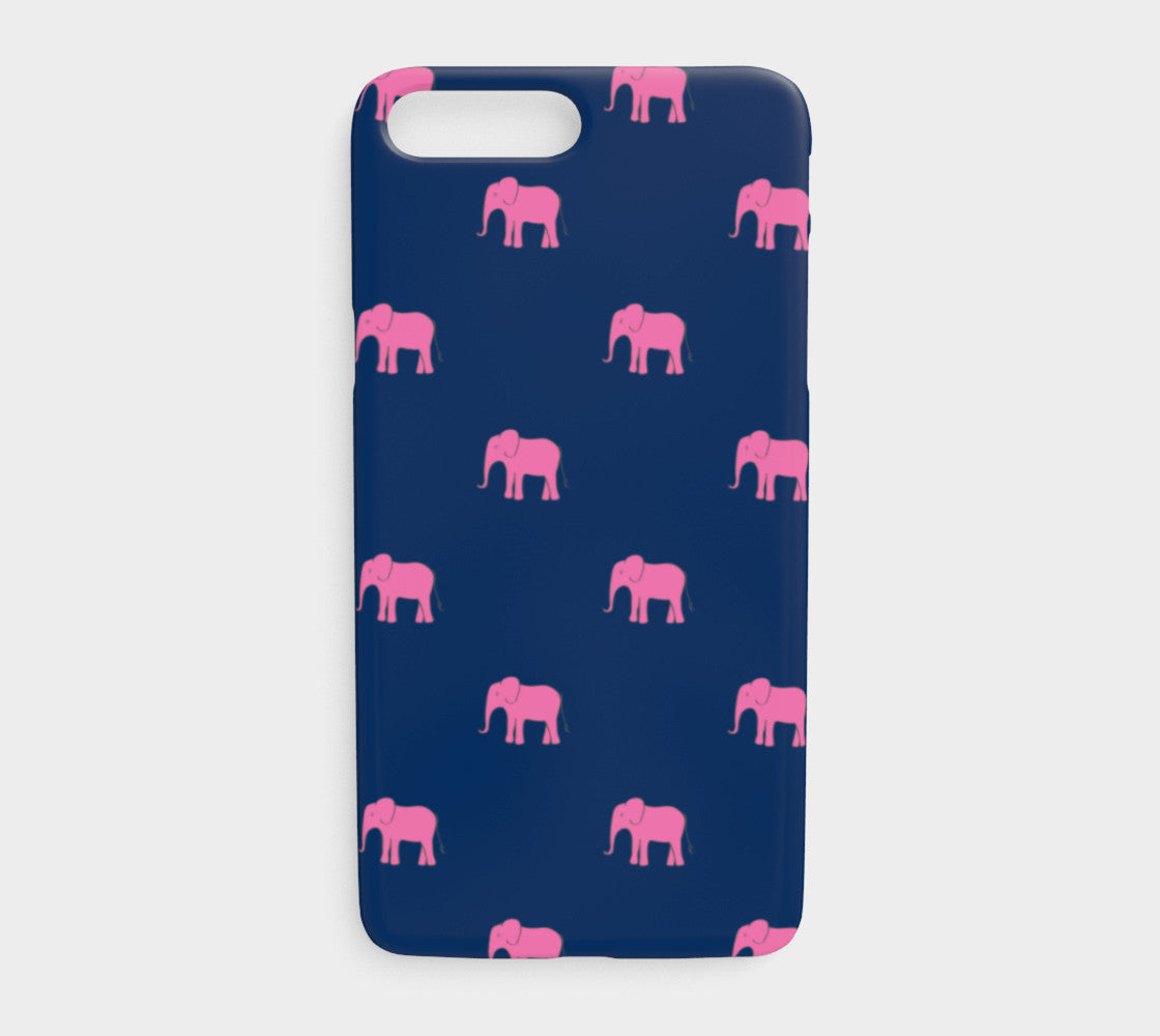 pretty nice 05f60 306c8 Elephant Cell Phone Case iPhone 7Plus / 8Plus - Pink on Navy - iPhone 7  Plus / 8 Plus / Elephant - Pink on Navy / Slim Case