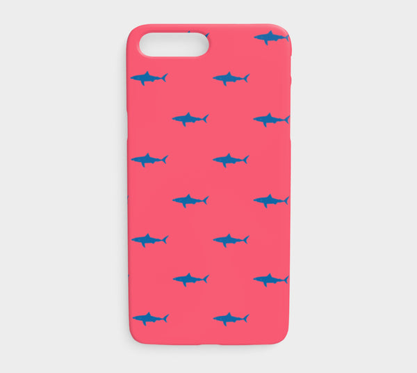 Shark Cell Phone Case iPhone 7Plus / 8Plus - Blue on Coral - SummerTies