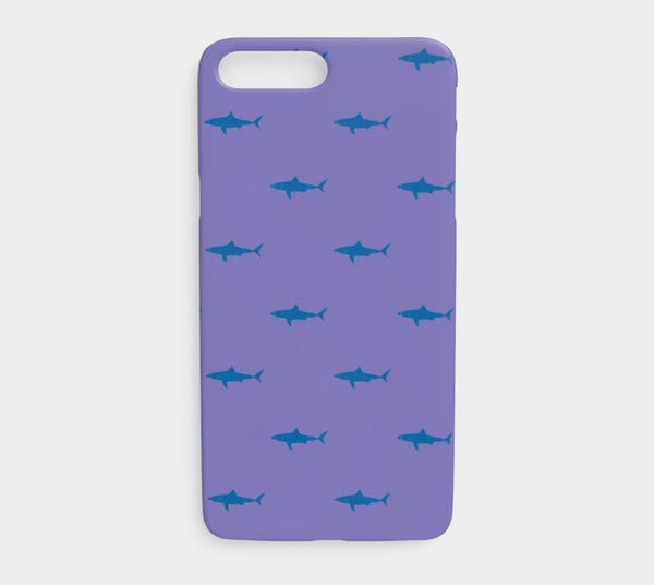 Shark Cell Phone Case iPhone 7Plus / 8Plus - Blue on Purple - SummerTies