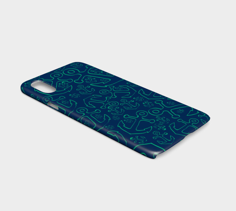 Anchor Dream Cell Phone Case iPhone X - Green on Navy - SummerTies
