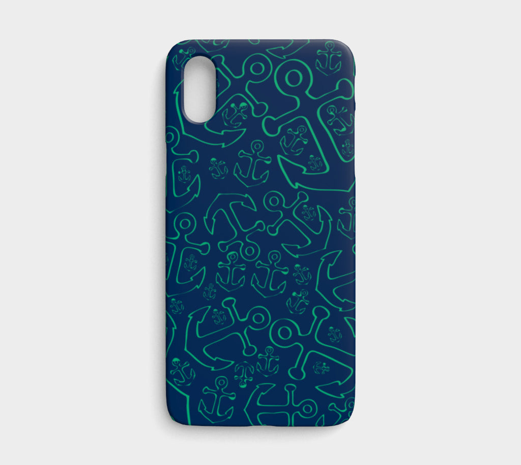 Anchor Dream Cell Phone Case iPhone X / XS - Green on Navy - SummerTies