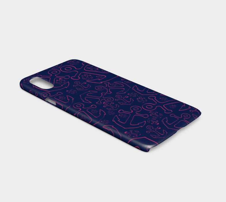 Anchor Dream Cell Phone Case iPhone X - Pink on Navy - SummerTies
