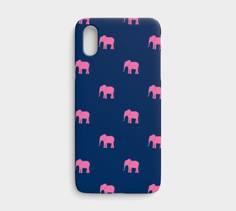 Elephant Cell Phone Case iPhone X - Pink on Navy - SummerTies