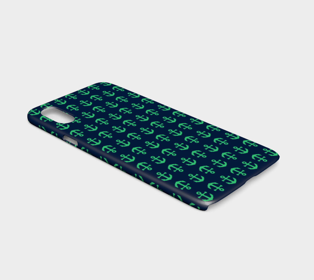 Anchor Toss Cell Phone Case iPhone X / XS - Green on Navy - SummerTies