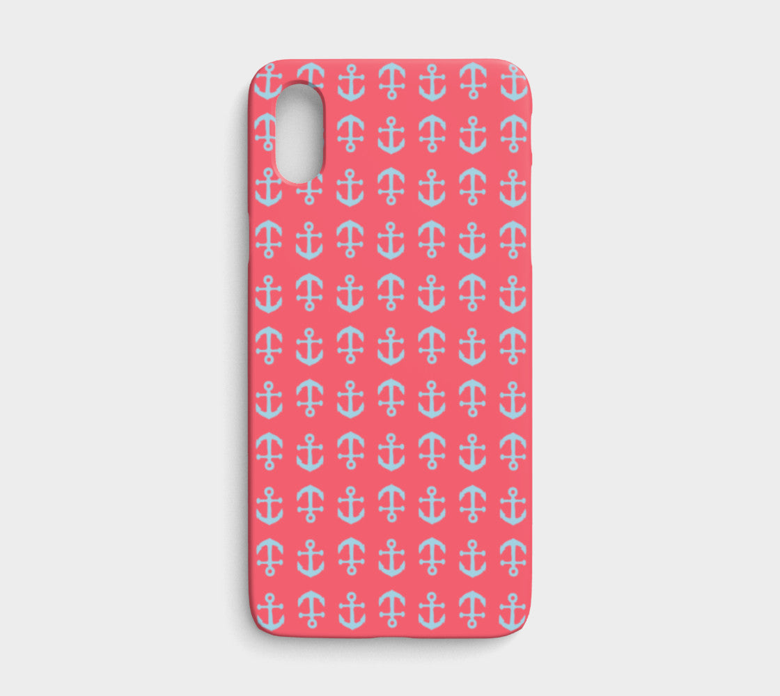 Anchor Toss Cell Phone Case iPhone X - Light Blue on Coral - SummerTies