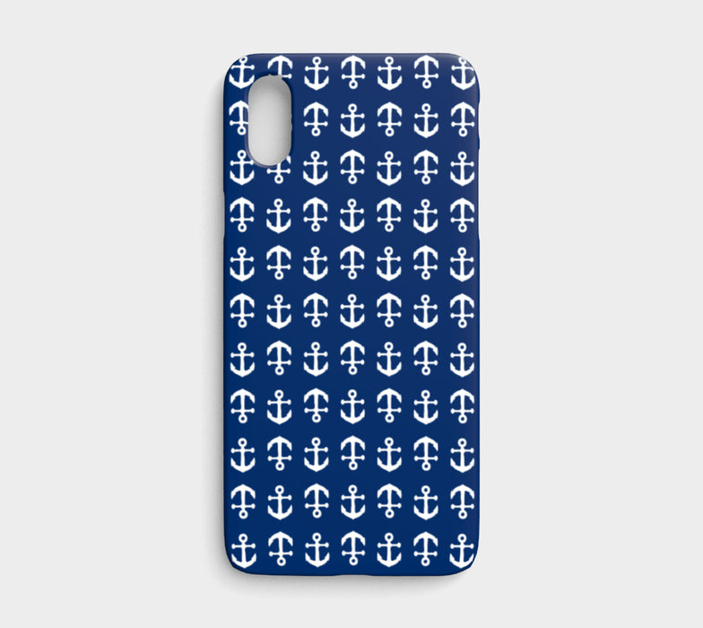 Anchor Toss Cell Phone Case iPhone X - White on Navy - SummerTies
