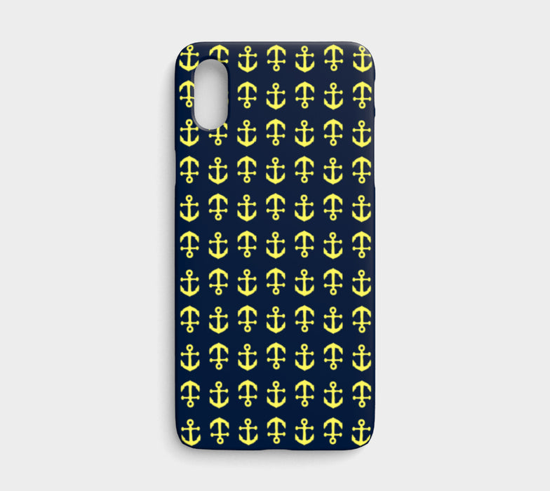 Anchor Toss Cell Phone Case iPhone X - Yellow on Navy - SummerTies