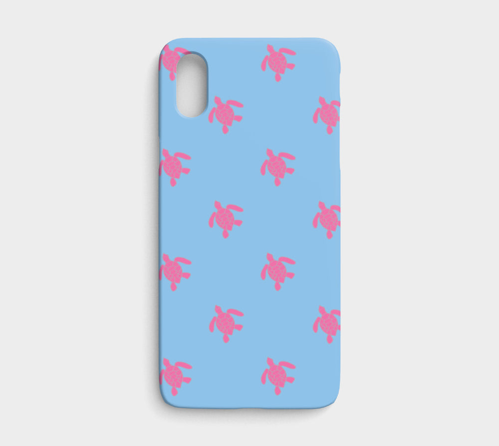 Turtle Cell Phone Case iPhone X / XS - Pink on Blue