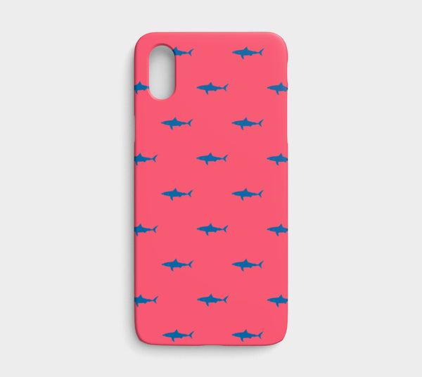 Shark Cell Phone Case iPhone X / XS - Blue on Coral - SummerTies