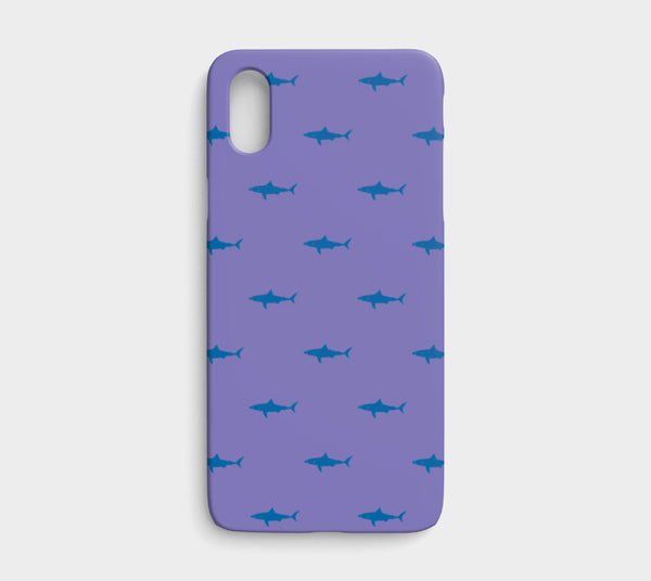 Shark Cell Phone Case iPhone X / XS - Blue on Purple - SummerTies