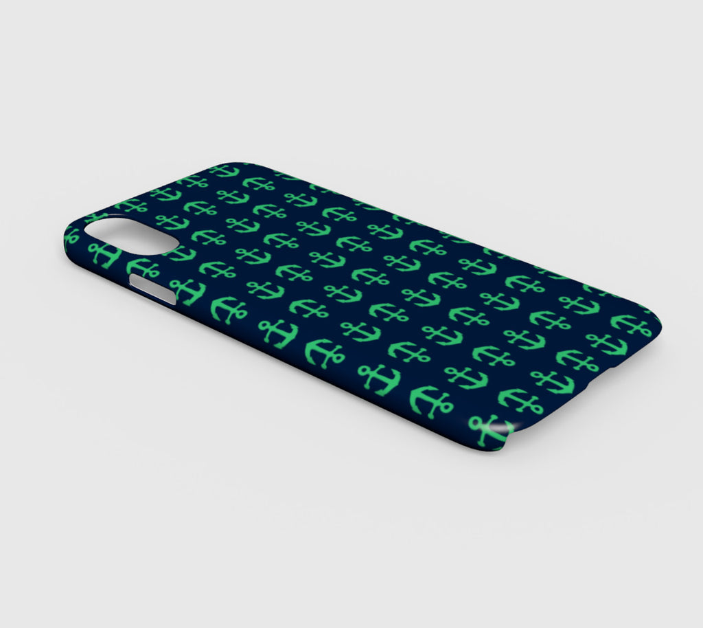 Anchor Toss Cell Phone Case iPhone XR - Green on Navy - SummerTies