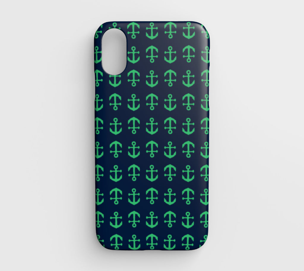 Anchor Toss Cell Phone Case iPhone XR - Green on Navy