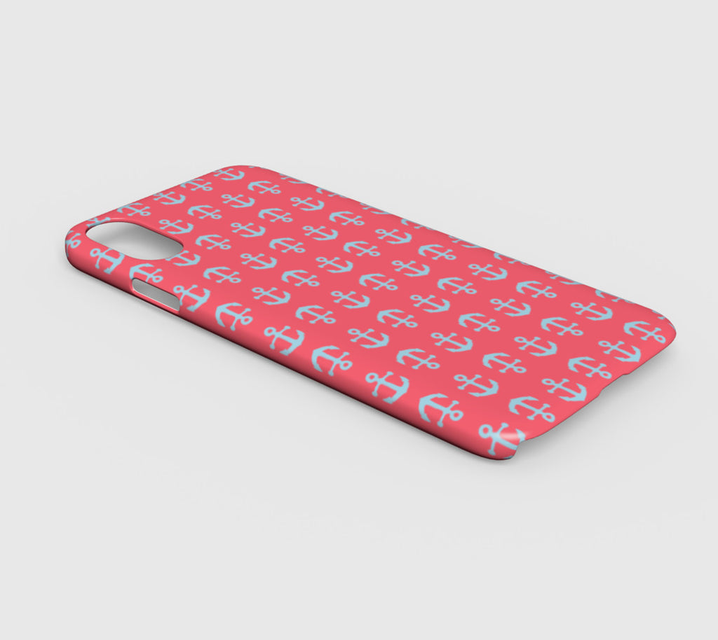 Anchor Toss Cell Phone Case iPhone XR - Light Blue on Coral - SummerTies