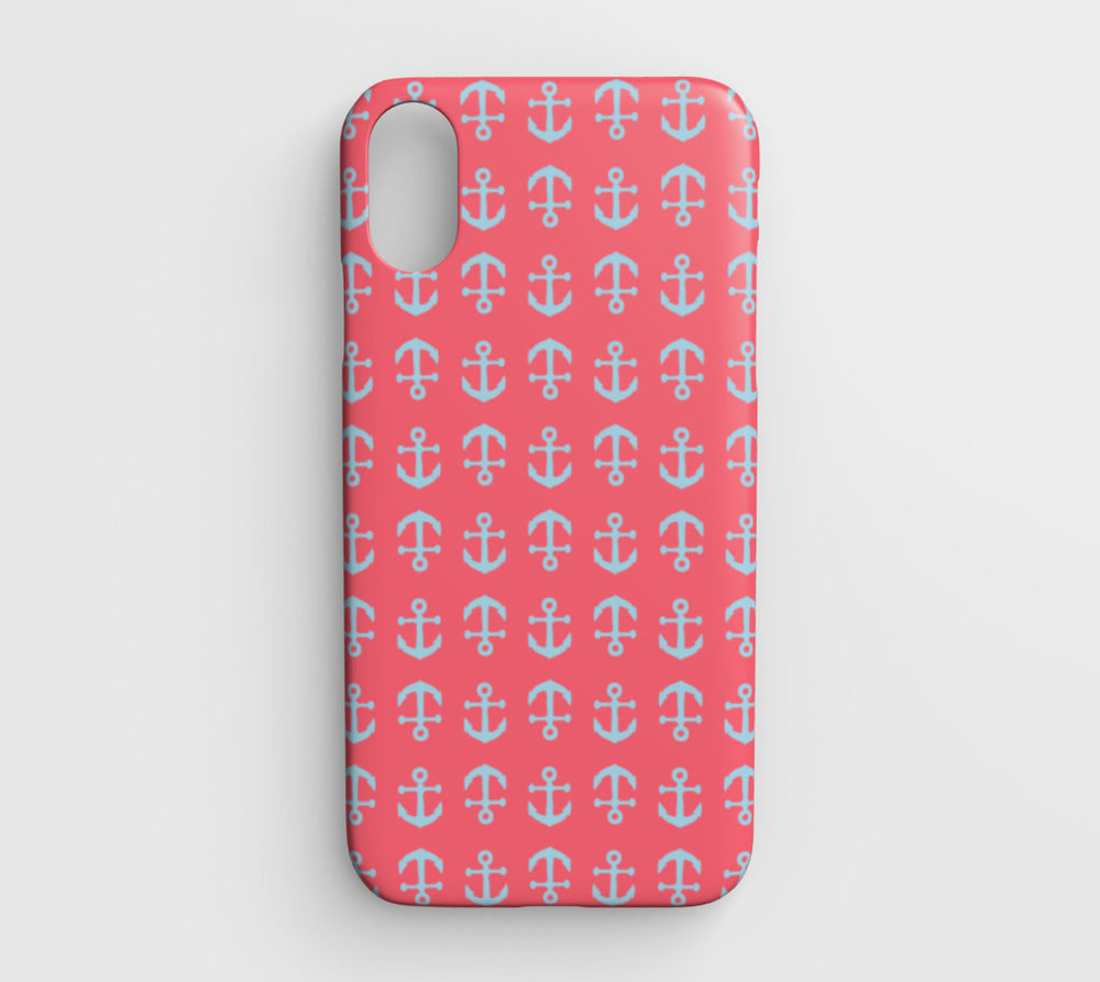 Anchor Toss Cell Phone Case iPhone XR - Light Blue on Coral