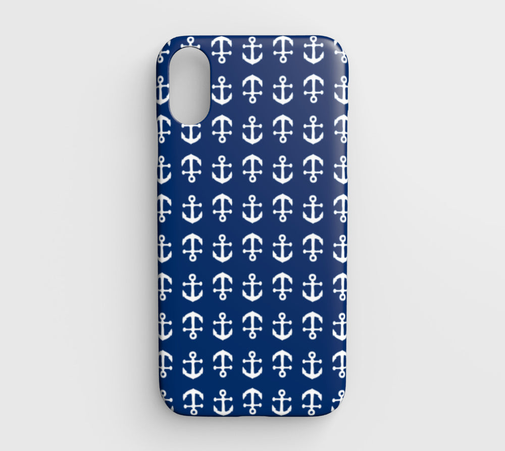 Anchor Toss Cell Phone Case iPhone XR - White on Navy - SummerTies