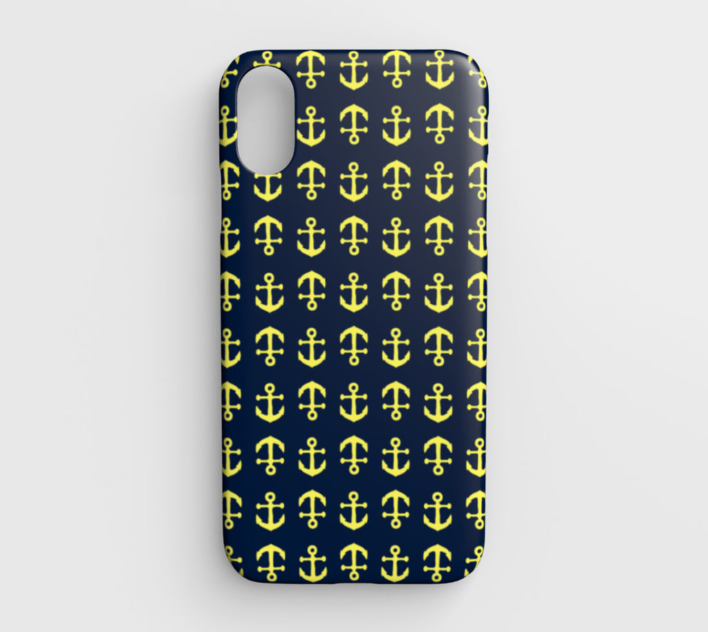 Anchor Toss Cell Phone Case iPhone XR - Yellow on Navy - SummerTies