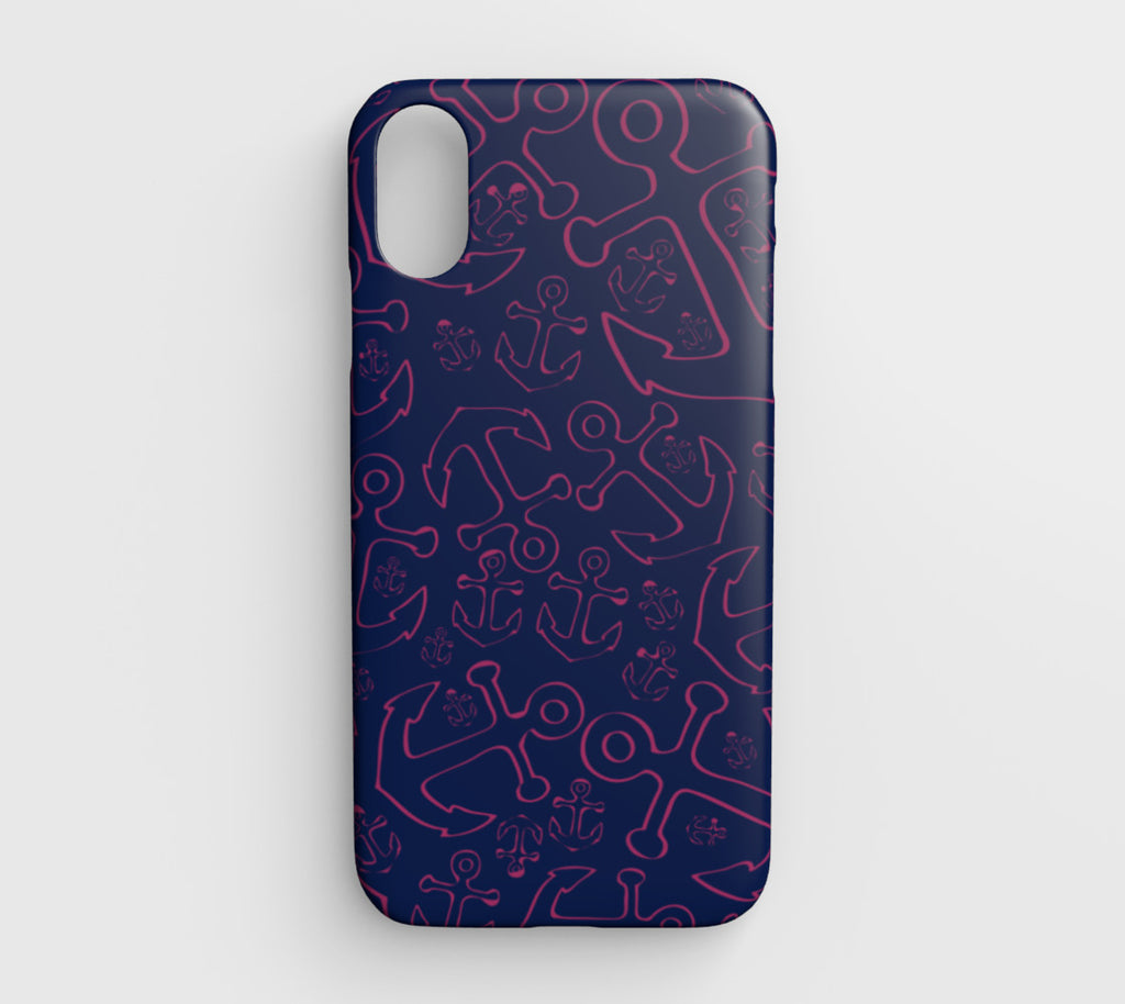 Anchor Dream Cell Phone Case iPhone XR - Pink on Navy