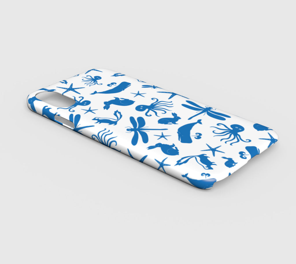 Multi Creature Cell Phone Case iPhone XR - Blue on White - SummerTies