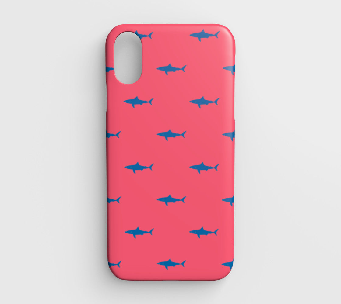 the latest 567c4 8f142 Shark Cell Phone Case iPhone XR - Blue on Coral - iPhone XR / Shark - Blue  on Coral / Tough Case