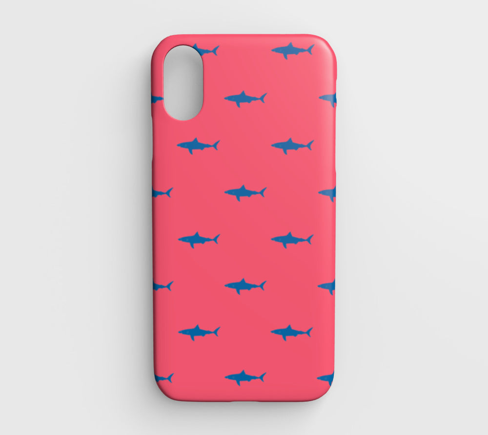 Shark Cell Phone Case iPhone XR - Blue on Coral