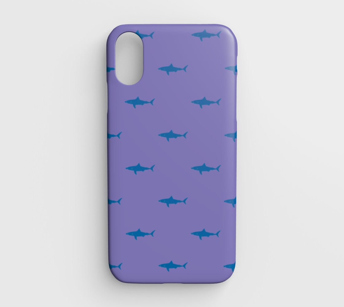 check out 45072 c958c Shark Cell Phone Case iPhone XR - Blue on Purple - iPhone XR / Shark - Blue  on Purple / Tough Case