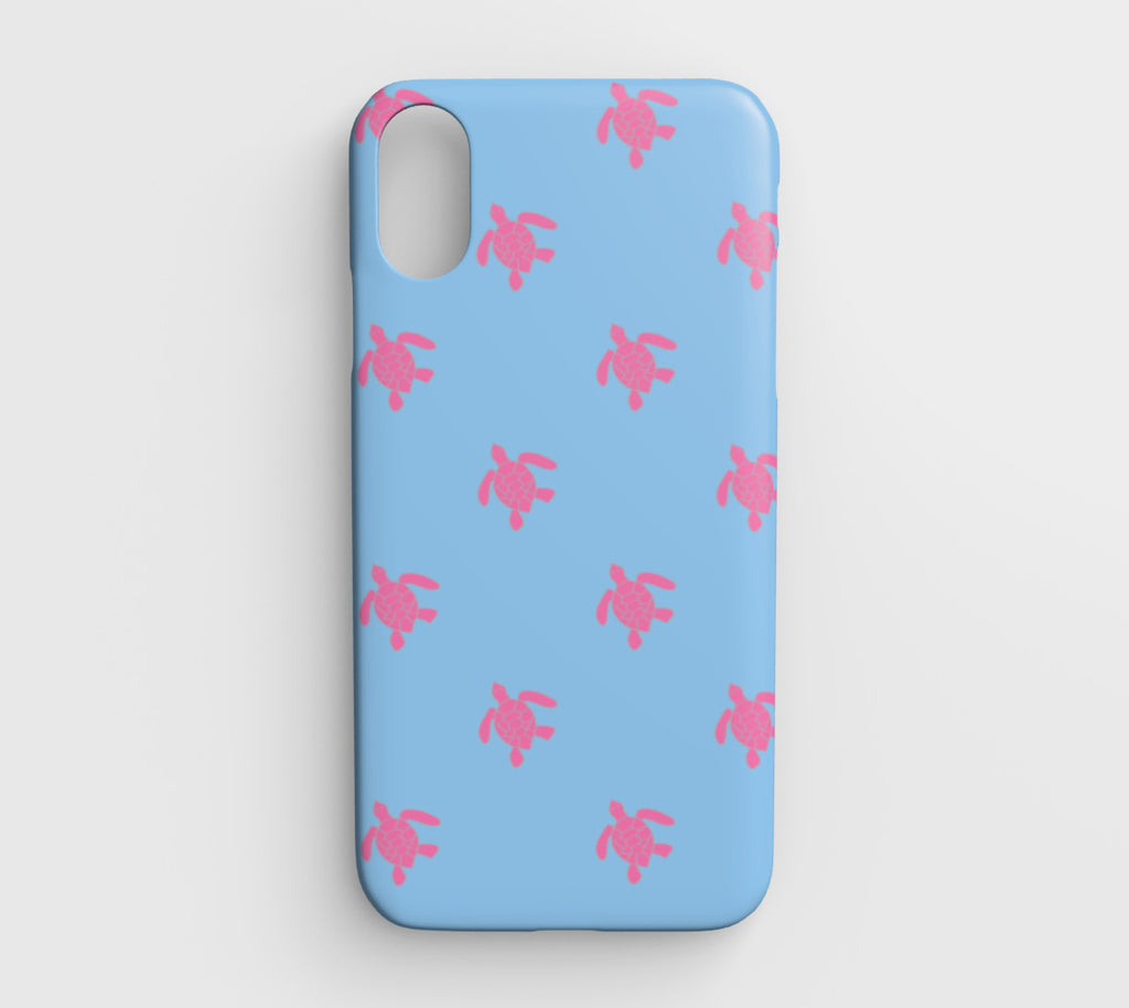 Turtle Cell Phone Case iPhone XR - Pink on Blue