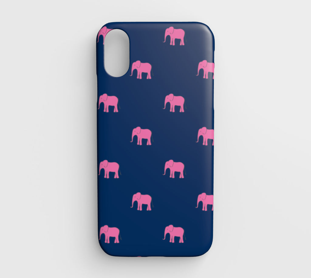 Elephant Cell Phone Case iPhone XR - Pink on Navy - SummerTies