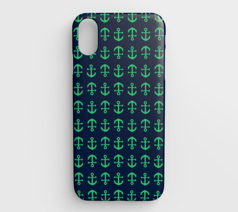 Anchor Toss Cell Phone Case iPhone XS Max - Green on Navy - SummerTies