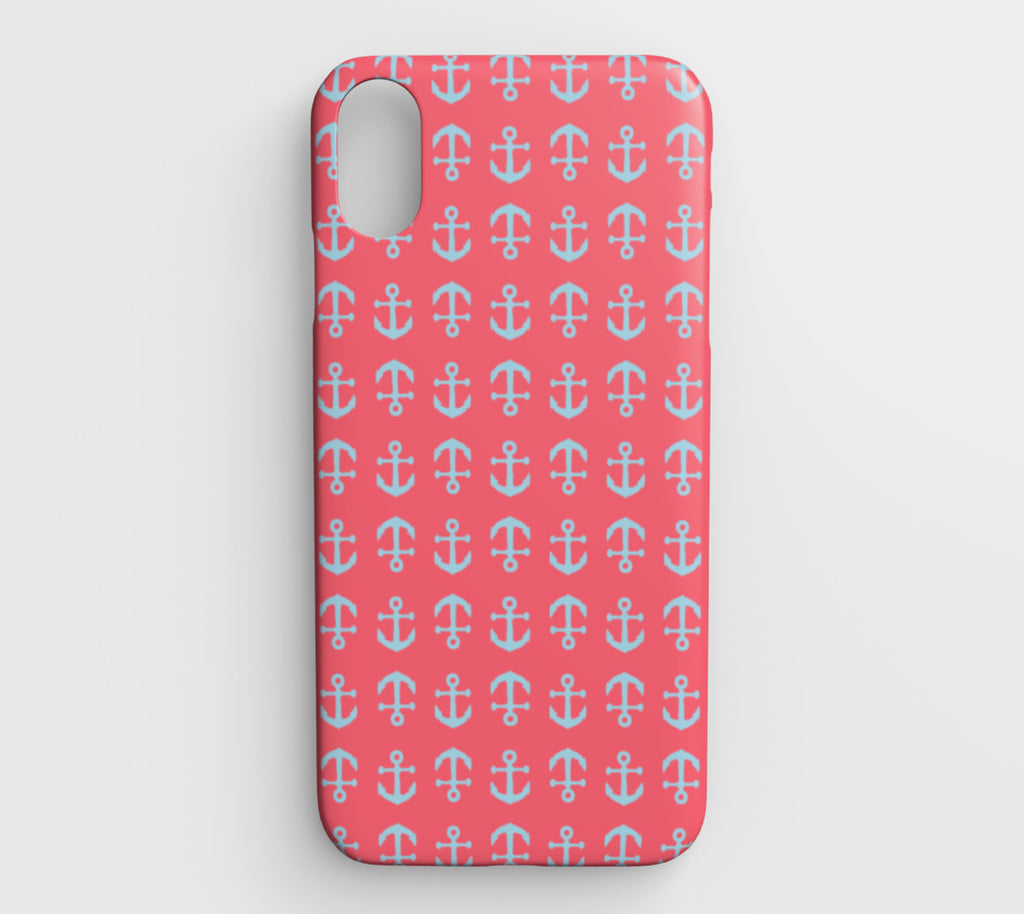 Anchor Toss Cell Phone Case iPhone XS Max - Light Blue on Coral - SummerTies