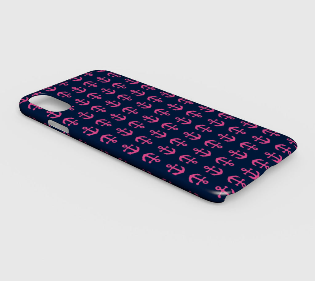 Anchor Toss Cell Phone Case iPhone XS Max - Pink on Navy - SummerTies