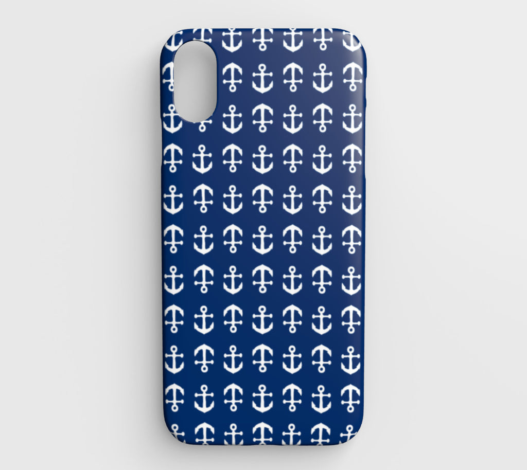 Anchor Toss Cell Phone Case iPhone XS Max - White on Navy - SummerTies