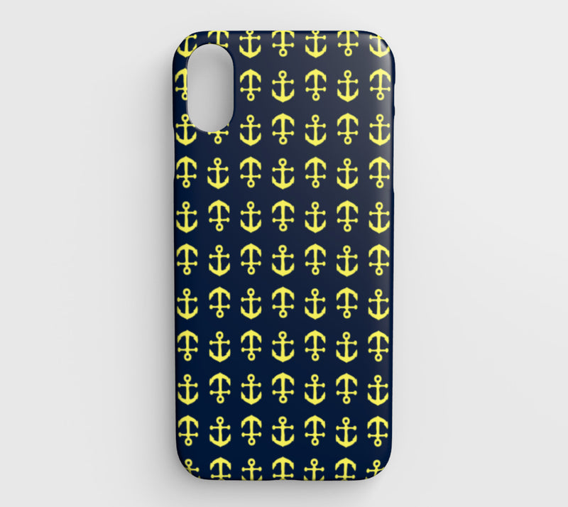 Anchor Toss Cell Phone Case iPhone XS Max - Yellow on Navy - SummerTies