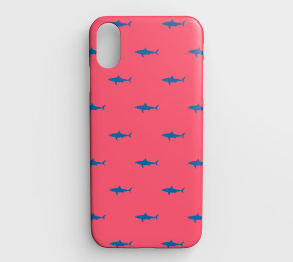 Shark Cell Phone Case iPhone XS Max - Blue on Coral - SummerTies