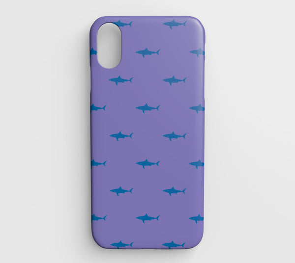 Shark Cell Phone Case iPhone XS Max - Blue on Purple - SummerTies