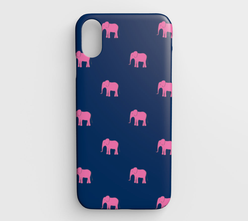 Elephant Cell Phone Case iPhone XS Max - Pink on Navy - SummerTies