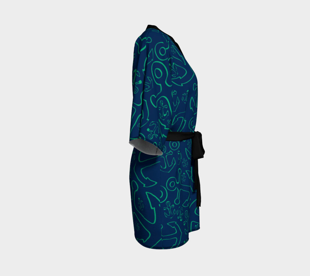 Anchor Dream Kimono Robe - Green on Navy - SummerTies