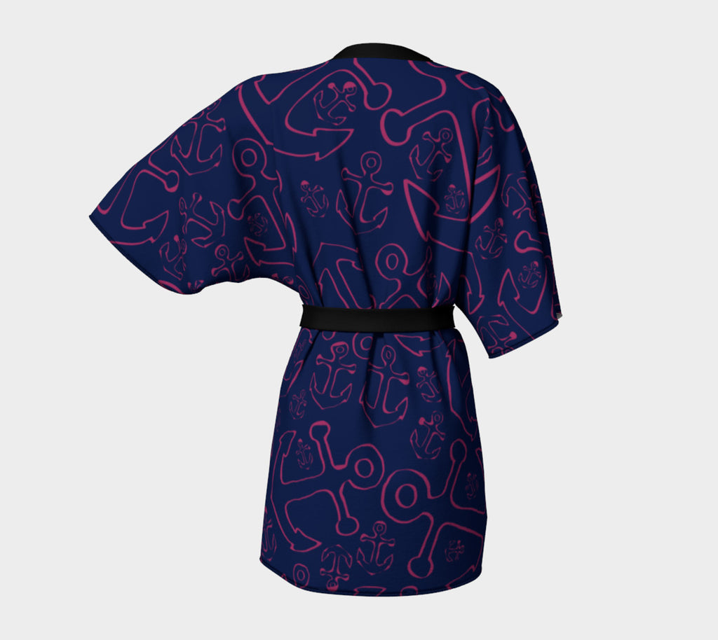 Anchor Dream Kimono Robe - Pink on Navy - SummerTies