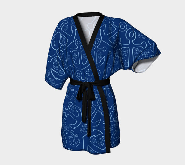 Anchor Dream Kimono Robe - Blue on Navy - SummerTies