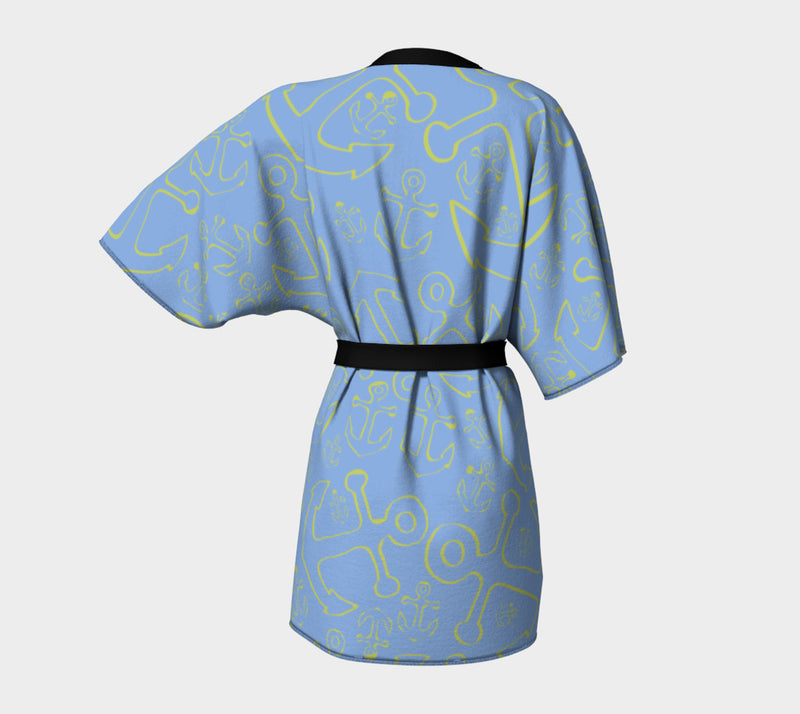Anchor Dream Kimono Robe - Light Blue - SummerTies