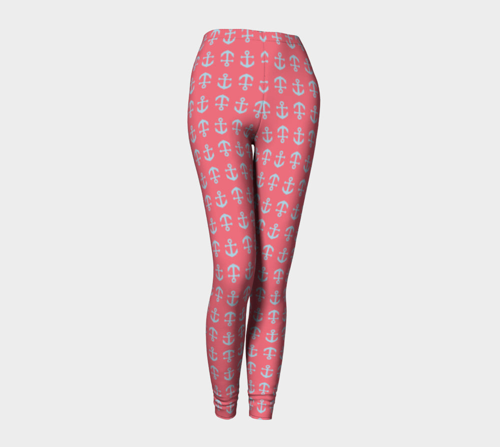 Anchor Toss Adult Leggings - Light Blue on Coral - SummerTies