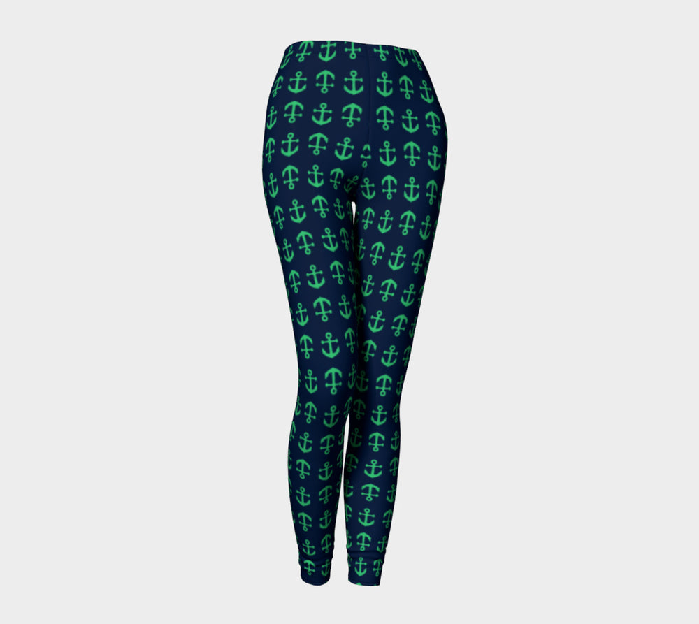 Anchor Toss Adult Leggings - Green on Navy - SummerTies